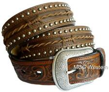 3D Western Mens Belt Leather Tooled Studded Barbwire Longhorn Brown 8944