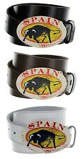 Spain Made in Italy Silver Buckle with Genuine Leather Casual Belt Strap