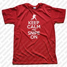 KEEP CALM AND SNIPE ON T-Shirt Hockey Inline Ice Roller Sniper Funny Tee Skates
