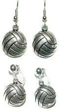 SILVER TONE VOLLEYBALL PIERCED or CLIP ON DANGLE EARRINGS (D029)
