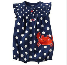 NWT Carter's Crab Creeper Baby Girl Sz NB Newborn 3M 6M 3 6 Month Gift One Piece