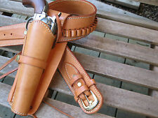 Cartridge Gun Belt Combo - .45 Cal Smooth H - Leather - Natural - Specify Size