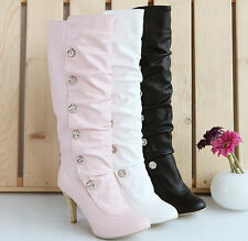 Hot women's Sexy Suede High Heel PU Leather high-heeled shoes Boots Shoes C56#