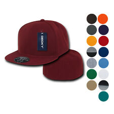 New Retro Fitted Flat Bill Baseball Hats Hat Caps Cap Decky Blank Color Solid