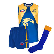 Official AFL Footy West Coast Eagles Kids Youth Auskick Jumper Guernsey Shorts S