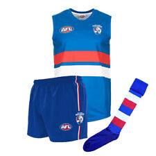 Official AFL Footy Western Bulldogs Kids Youth Auskick Jumper Guernsey Shorts So