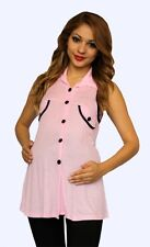 Pink Maternity Sleeveless Maternity Top Casual Womens Buttons Colar S M L XL