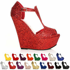 NEW LADIES FASHION HIGH HEEL WEDGES WOMEN PARTY PLATFORM SHOES SIZE 3 - 8