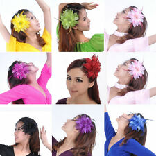 New Belly Dancing Tribal Party Wedding Feather Hair Head Flower Pin Brooch Clip