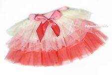 Cream Pink Red Bow Tiered Layered Gauze Skirt Kids Girls Dance Tutu Dress 1-7Y