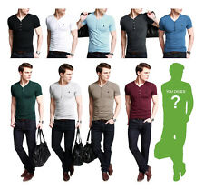 NWT Slim Fitted Mens T-Shirt V Neck Henley Tee Short Sleeve 9 Plain Color TS039