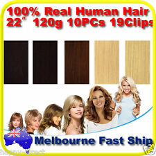 "New Clip in REMY Real Human Hair Extensions 22"" 120g 10PCs on Black Brown Blonde"