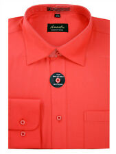 New Amanti Mens Solid  Coral Wedding Formal Dress Shirt  &  Free Shipping