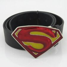 New DC comics Superman Western 3D red in yellow Mens Metal belt buckle Leather