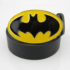 New Batman Western Yellow Black Superhero Mens Metal belt buckle Leather Belt