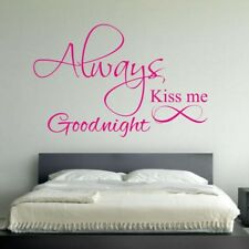 ALWAYS KISS ME GOODNIGHT wall quote love bedroom lounge art vinyl heart stickers