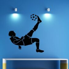 FOOTBALL wall stickers footballer kids bedroom boys sports personalised decal