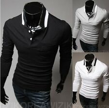 New Men's Short Sleeve Poly Cotton Slim Fit Gid Polo T Shirt Tee Tops T-010