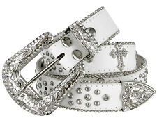 "Western Cowgirl Studded Cross Rhinestone Concho Leather Belt 1-1/2"" Wide, White"