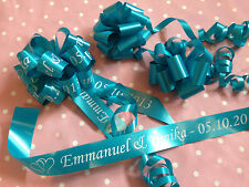 DELUX Personalised Wedding Car Ribbon inc Personalised Bow & matching door bows!
