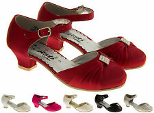 New Girls Kids Satin Diamante Wedding Formal Party Shoes Size 9 10 11 12 13 1 2