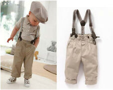 2pcs Baby Boy Kid Outfit Clothes Striped T-shirt+Bib Pants Overalls Coogan 6M-3T