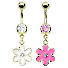 Gold Plated Crystal Gem Flower Navel Belly Bar Ring - Choose Your Size