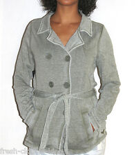 ROXY Jacket New Womens Double Button Gray Tie Back Solid Coat Choose Size