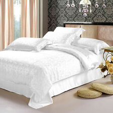 4pc 100%Mulberry Silk Sheet Set Fitted Flat Sheets 2x Pillowcases White Anoushka