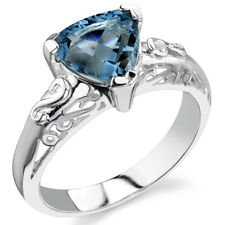 2.00 cts Trillion Cut London Blue Topaz Ring Sterling Silver Size 5 to 9