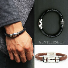 Mens Fashion Twisted leather Cuff Bangle Bracelet 34 Black / Brown, GENTLERSHOP