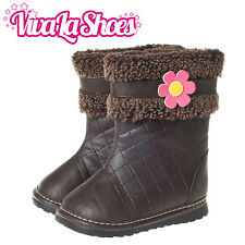 Girls Toddler Leather Squeaky Boots - Brown with Fleece Lining + Pink Flower