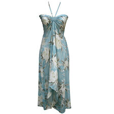 Sexy Tropical Hawaiian Halter Butterfly Cruise Luau Floral Dress Light Sky Blue