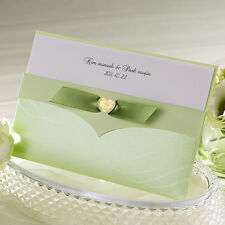 50Sets Green Ribbon Wedding Invitations Cards + Envelopes + Seals /GA1026