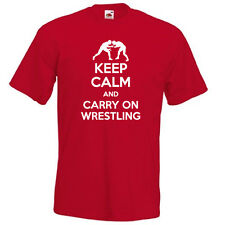KEEP CALM and carry on WRESTLING sports funny slogan vintage mens t-shirt gift