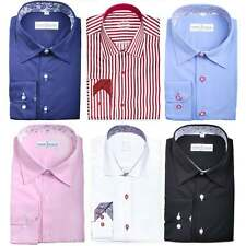 Mens Designer Formal Italian Regular Fit Dress Shirt Contrast Collar Cuff S-4XL