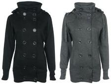 NEW Ladies WOMENS Fleece  Jacket BLACK / GREY Military  BUTTONS Hooded Size 8-14