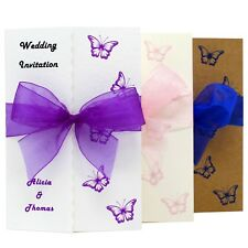 Personalised Handmade Gate fold wedding invitations. FREE P+P AND ENVELOPES