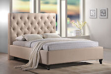 LuXeo Roxbury Tufted Upholstered Platform Bed in Sand Color Fabric