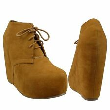 Womens Ankle Boots Sexy Hidden Platform High Heel Wedge Lace Up Shoes Brown