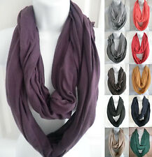 NEW womens solid jersey infinity scarf circle cowl long scarf Wrap loop shawl