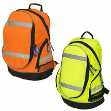 Hi Visibility Reflective Backpack Rucksack Carry Bag Safety Yellow or Orange New