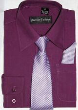American Exchange Mulberry Raisin Shirt,Tie, Pocket Square Wedding Prom 1-16yrs