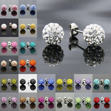 Shamballa Stud Earrings 8mm Crystal Clay Disco Ball 10 Colors