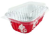 1 lb. Red Aluminum Foil Mini Loaf Bread Holiday Baking Pan Tins w/Clear Dome Lid