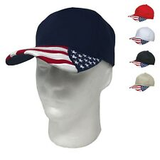 Patriotic Team USA Flag on Bill 6 Panel Hat Hats Cap Caps Red White Blue Racing