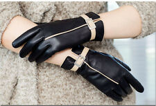 3color -black  Winter Warm Fashion Women's Genuine 100% Lambskin Leather Gloves