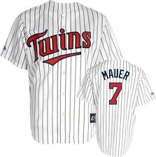 Joe Mauer Majestic Home Pinstripe Replica #7 Minnesota Twins Jersey Big Sizes
