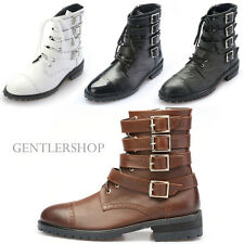 Mens Shoes Multiple Buckle Styling High Top Leather Boots 5051, GENTLERSHOP