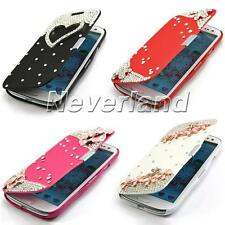 Diamond Bling Flower Flip PU Leather Case Cover For Samsung Galaxy S3 III i9300